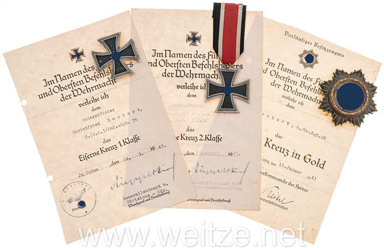 Deutsches Kreuz in Gold - Nachlass des Feldwebel Christfried Beckert 8.(M.G.) I.R.26