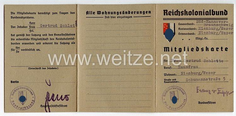 Reichskolonialbund - Gauverband Süd-Hannover-Braunschweig Ortsverband Nienburg/Weser - Mitgliedskarte