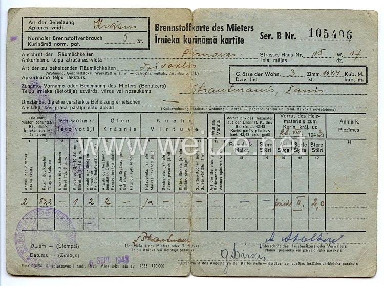 III. Reich / Lettland - Brennstoffkarte des Mieters für einen Mann