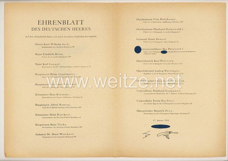 Ehrenblatt des deutschen Heeres - Ausgabe vom 27. Januar 1944