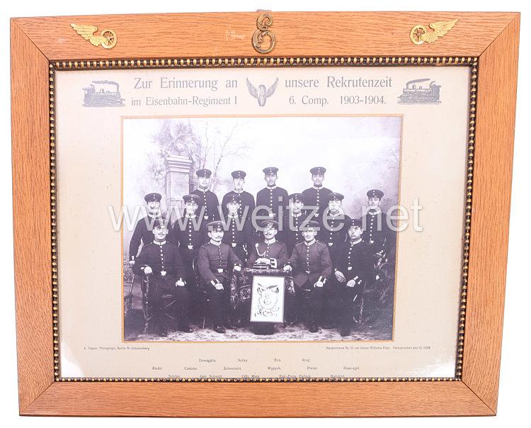 """Preußen großes Erinnerungsfoto """"Zur Erinnerung an unsere Rekrutenzeit im Eisenbahn-Regiment 1 6. Comp. 1903-1904."""""""