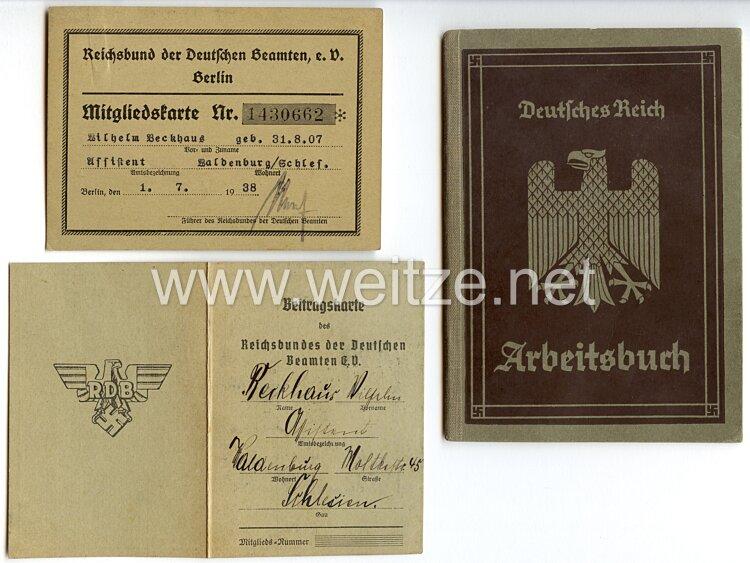 Reichsbund der Deutschen Beamten e.V. Berlin - Mitgliedskarte und Beitragskarte