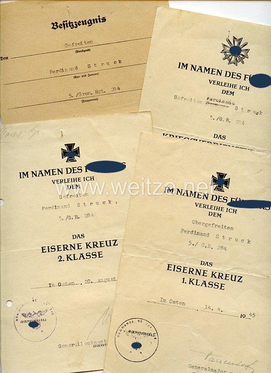 Heer - Urkundengruppe für einen Gefreiten und späteren Obergefreiten der 5./Gren.-Rgt.284