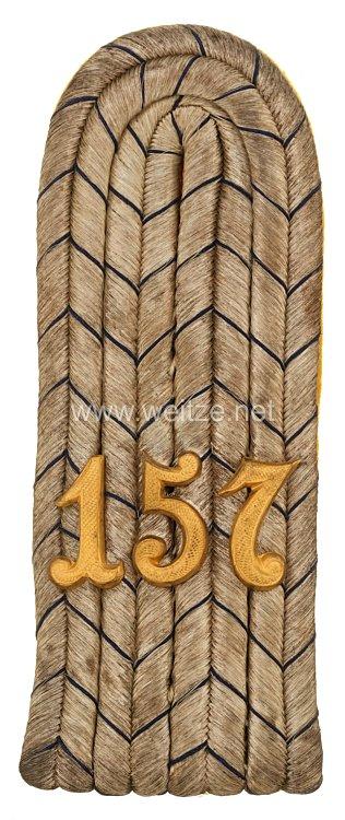 Preußen Einzel Schulterstück für einen Leutnant im 4. Schlesischen Infanterie-Regiment Nr. 157