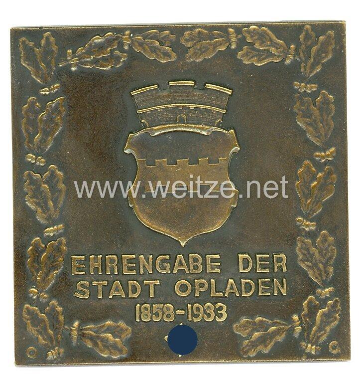 """III. Reich nichttragbare Ehrenplakette """"Ehrengabe der Stadt Opladen 1858-1933"""""""