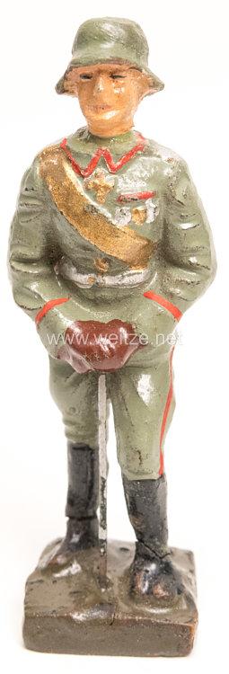 Lineol - Heer General mit Stahlhelm stehend auf Säbel stützend