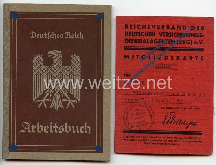 III. Reich - Reichsverband der Deutschen Versicherungsgeneralagenten ( RVG ) e.V. - Mitgliedskarte