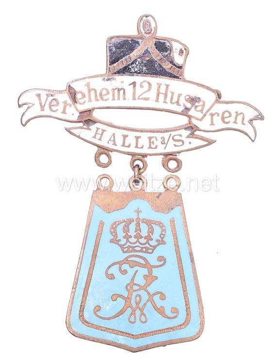 """Preußen großes Mitgliedsabzeichen """"Verein ehemaliger 12 Husaren Halle a/S."""""""
