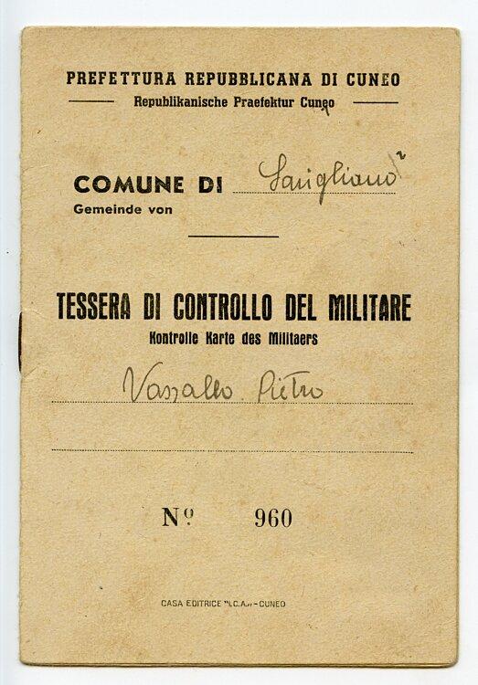 III. Reich - Republikanische Präfektur Cuneo ( Italien ) - Kontroll Karte des Militärs