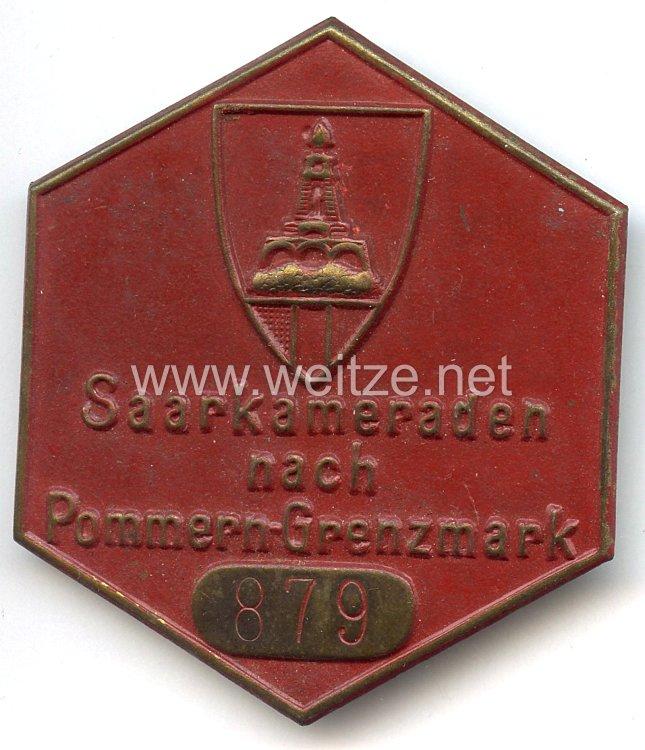 """III. Reich - Kyffhäuserbund - tragbares Teilnehmerabzeichen """" Saarkameraden nach Pommern-Grenzmark """""""