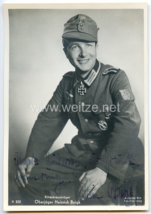 Heer - Originalunterschrift von Ritterkreuzträger Oberjäger Heinrich Boigk