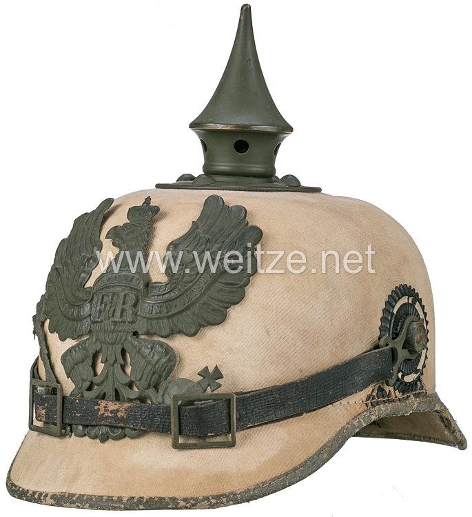 Preußen Pickelhaube 1. Weltkrieg für Mannschaften Infanterie in Tropenausführung für die Palästina-Front