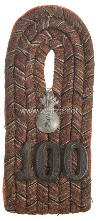 Preußen Einzel Schulterstück feldgrau für einen Leutnant im Feldartillerie-Regiment Nr. 100