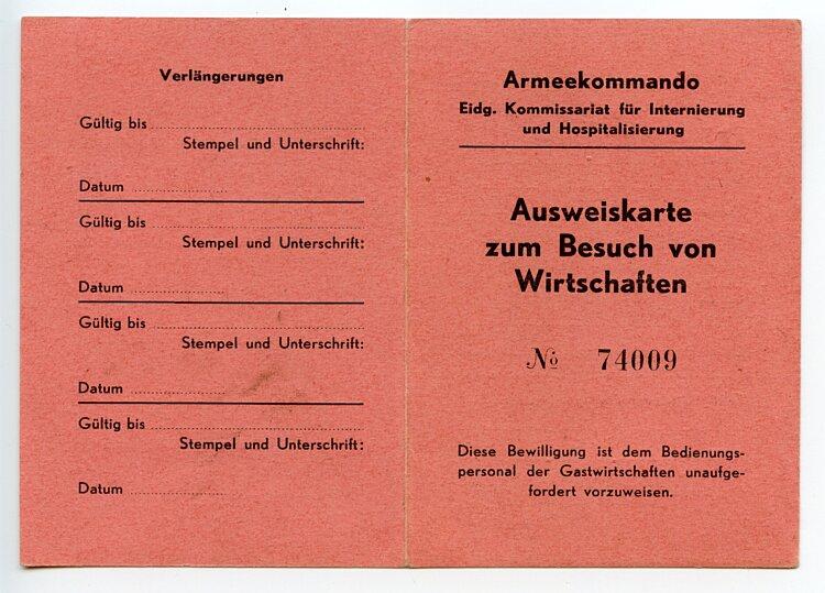 Armeekommando - Eidg. Kommissariat für Internierung und Hopitalisierung - Ausweiskarte zum Besuch von Wirtschaften