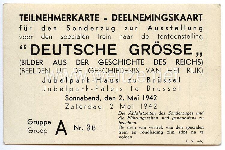 III. Reich - Teilnehmerkarte für den Sonderzug zur Ausstellung