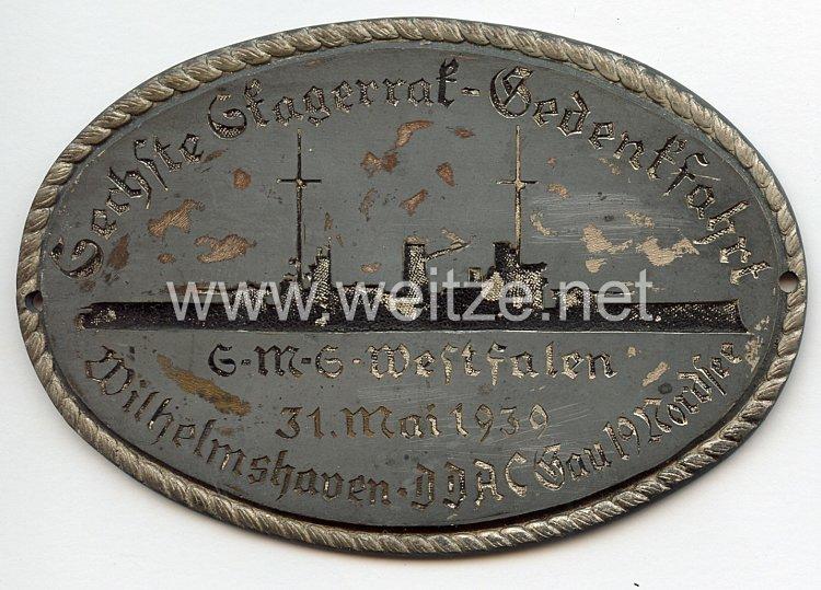 """III. Reich - Der Deutsche Automobil Club ( D.D.A.C. ) - nichttragbare Teilnehmerplakette - """" DDAC Gau 19 Nordsee 6. Skagerrak-Gedenkfahrt auf S.M.S. Westfalen 31. Mai 1939 Wilhelmshaven """""""