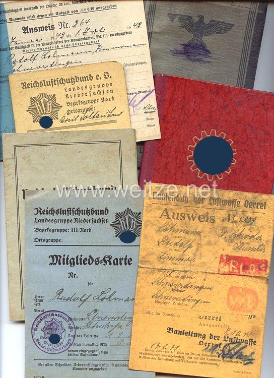 Dokumentengruppe für einen späteren Angestellten bei der Bauleitung der Luftwaffe Oerrel