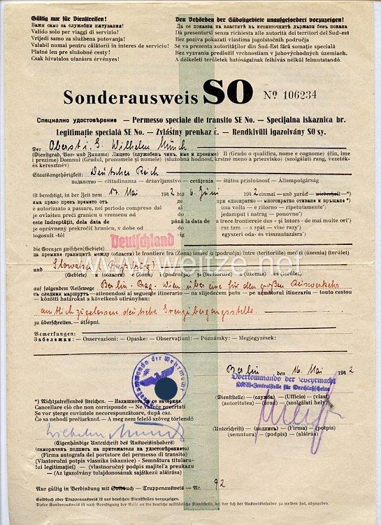 Oberkommando der Wehrmacht ( O.K.W.) Zentralstelle für Durchlaßscheine - Sonderausweis SO für Südostgebiete
