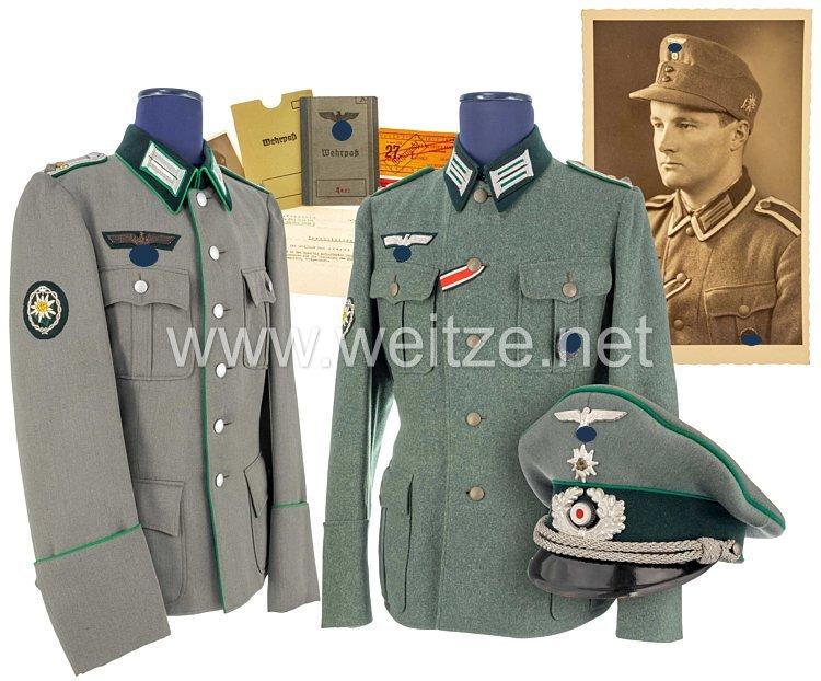 Wehrmacht Feldbluse, geschönte Feldbluse und Schirmmütze aus dem Besitz von Karl Breyer im Gebirgsjäger-Regiment 100