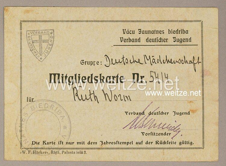 III. Reich - Verband deutscher Jugend in Lettland - Mitgliedskarte