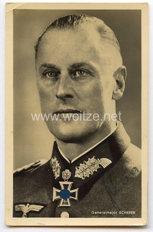 Heer - Originalunterschrift von Ritterkreuzträger Generalmajor Theodor Scherer