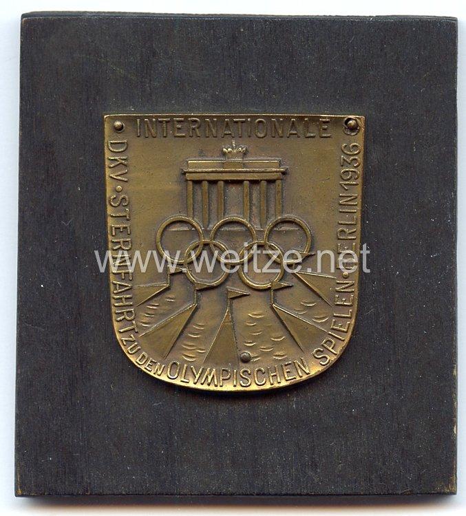 """XI. Olympischen Spiele 1936 Berlin - Erinnerungsplakette """" Internationale DKV Sternfahrt zu den Olympischen Spielen Berlin 1936 """""""