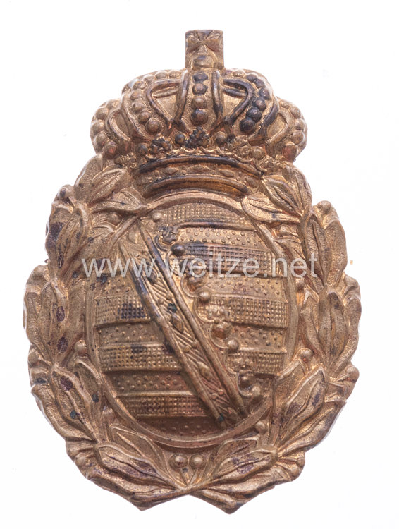 Sachsen Wappen für den Tschakostern für Mannschaften im Sächsischen Jäger-Bataillon Nr. 12 oder 13