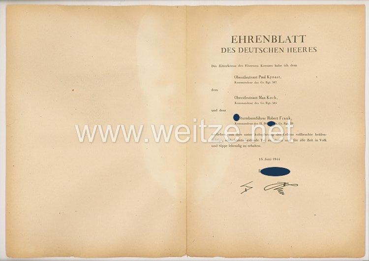Ehrenblatt des deutschen Heeres - Ausgabe vom 15. Juni 1944