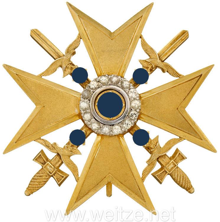 Spanienkreuz in Gold mit Schwertern und Brillanten