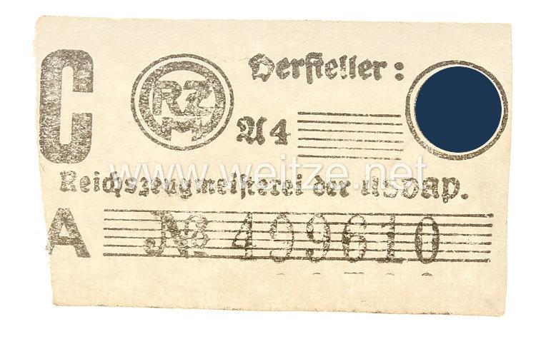 SS/RZM-Papieretikett für Uniformabzeichen