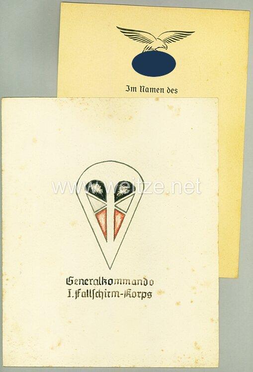 Luftwaffe Anerkennungsurkunde für den Ritterkreuzträger Hauptmann Erich Beine der III./Fsch.-Jg.-Sturm-Rgt.12