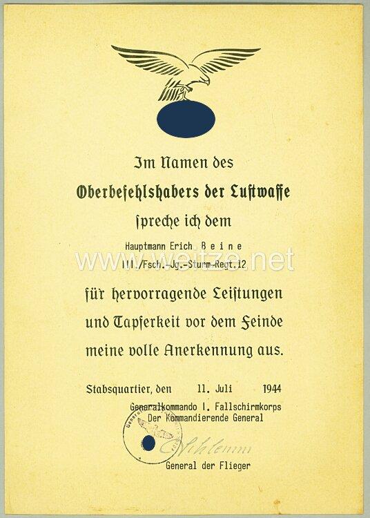 Luftwaffe Anerkennungsurkunde für den Ritterkreuzträger Hauptmann ...