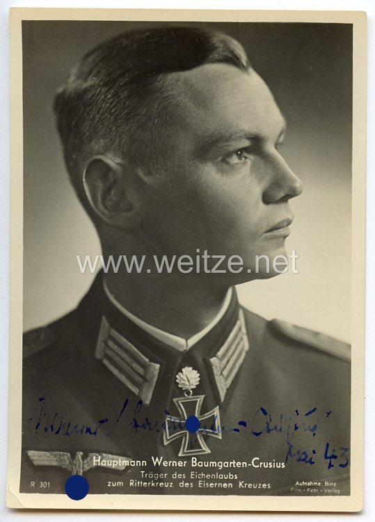 Heer - Originalunterschrift von Ritterkreuzträger Hauptmann Werner Baumgarten-Crusius