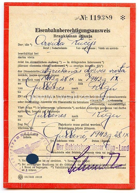 III. Reich / Lettland - Der Gebietskommissar Riga-Land - Eisenbahnberechtigungsausweis