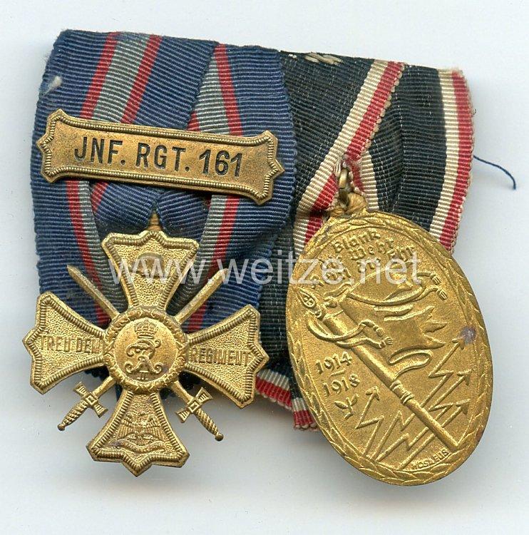 Schnalle Preussen Regiments-Erinnerungskreuz des10. Rheinisches Infanterie-Regiment Nr. 161 undKyffhäuser Kriegsdenkmünze 1914-1918