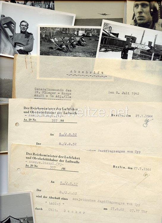 Luftwaffe - Dokumenten- und Fotogruppe für den Deutschen Kreuz in Gold Träger Oberleutnant Otto Decker der 8./Jagdgeschwader 52