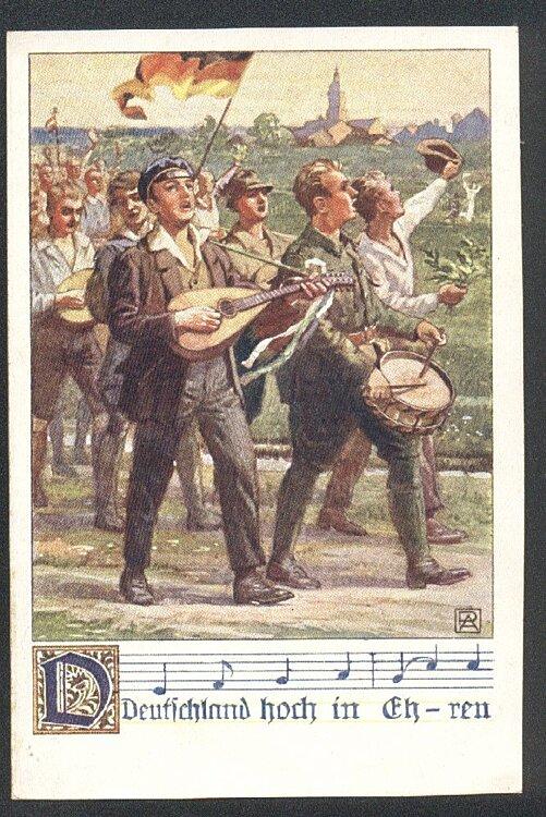 """Studentika Postkarte: """" Deutschland hoch in Ehren """""""