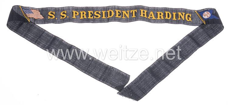 """USA Marine Mützenband""""SS President Harding"""", durch die Luftwaffe am 14. Mai 1940 versenkt"""