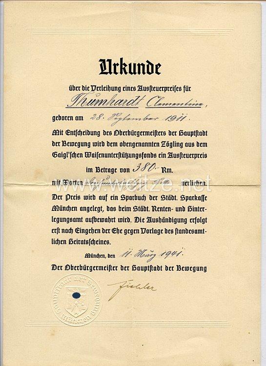 III. Reich - Originalunterschrift von dem Reichsleiter und Oberbürgermeister von München Karl Fiehler