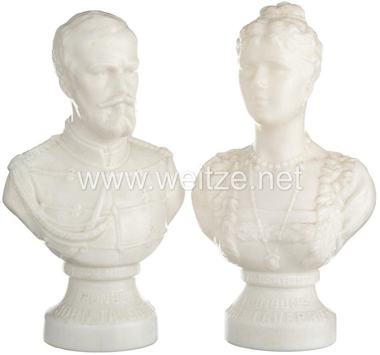 Zaristisches Rußland: Paar Büsten des Zaren Nikolaus II. und seiner Gattin  Alexandra Fjodorowna