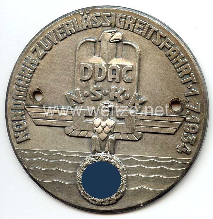 """NSKK / DDAC - nichttragbare Teilnehmerplakette - """" Nordmark Zuverlässigkeitsfahrt 1.7.1934 """""""