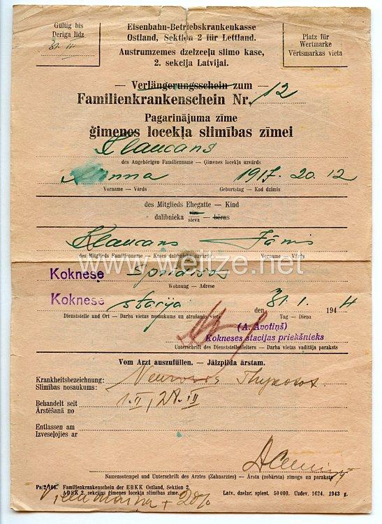 III. Reich / Lettland - Eisenbahn-Betriebskrankenkasse Ostland Sektion 2 für Lettland - Familienkrankenschein