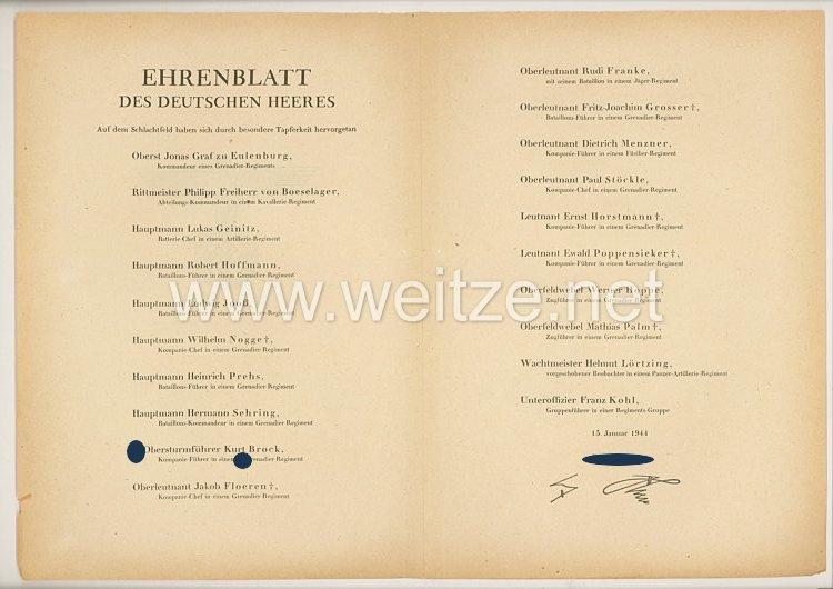 Ehrenblatt des deutschen Heeres - Ausgabe vom 15. Januar 1944