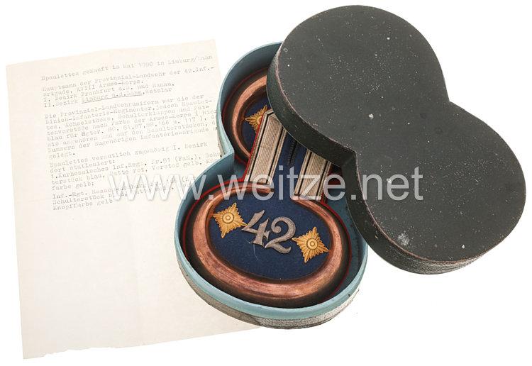 Preußen Paar Epauletten für einen Hauptmann der 42. Landwehr-Brigade