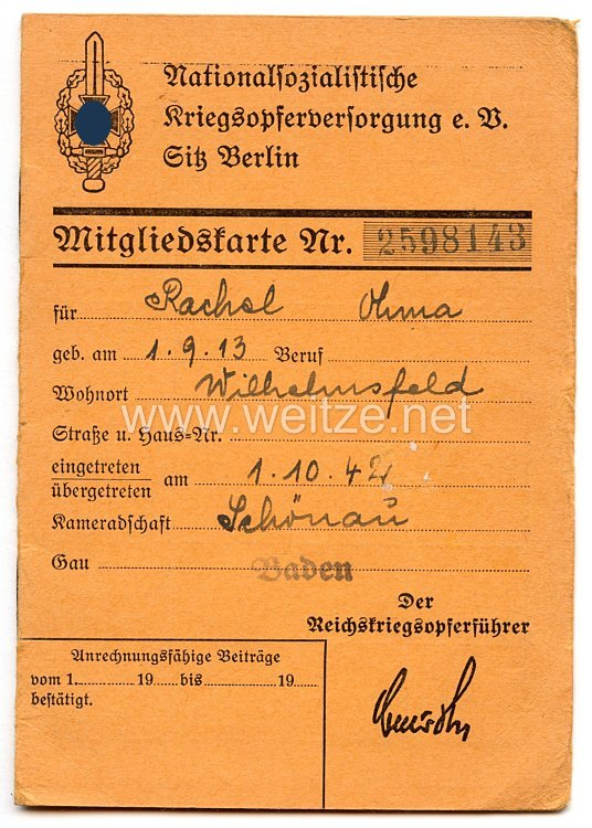 Nationalsozialistische Kriegsopferversorgung e.V. (NSKOV) - Mitgliedskarte
