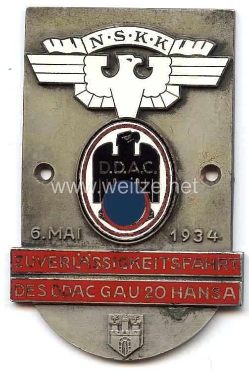"""NSKK / DDAC - nichttragbare Teilnehmerplakette - """" Zuverlässigkeitsfahrt des DDAC Gau 20 Hansa 6. Mai 1934 """""""