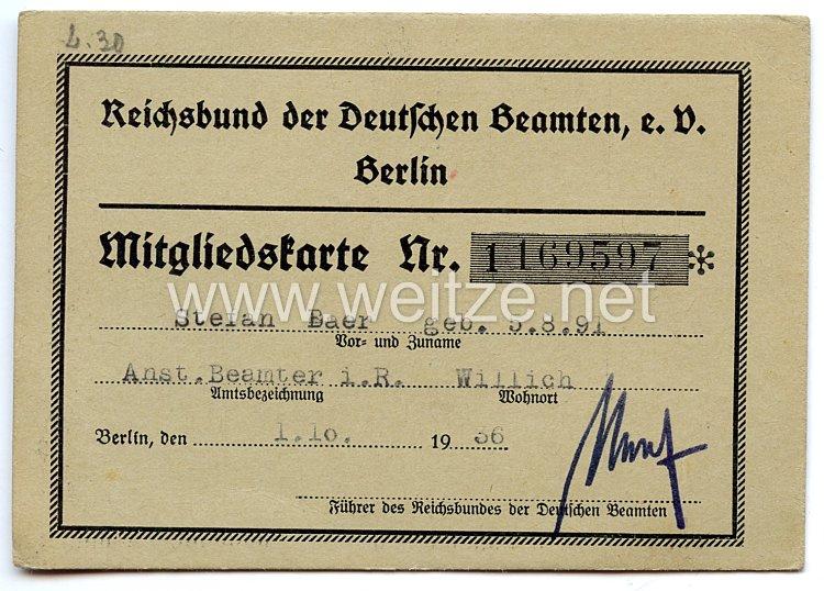 Reichsbund der Deutschen Beamten e.V. Berlin - Mitgliedskarte