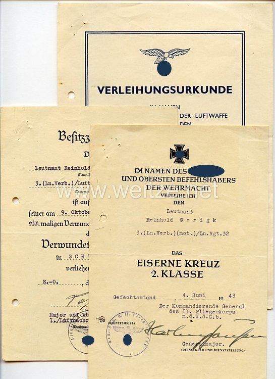 Luftwaffe - Urkundentrio für einen Leutnant und späteren Oberleutnant der 3.(Ln.Verb.)(mot.)/Luftnachr.-Rgt.32