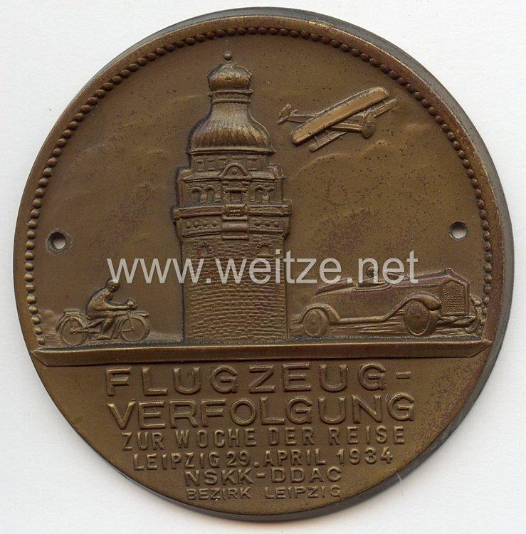 """NSKK / DDAC - nichttragbare Teilnehmerplakette - """" Flugzeug-Verfolgung zur Woche der Reise Leipzig 29. April 1934 Bezirk Leipzig """""""