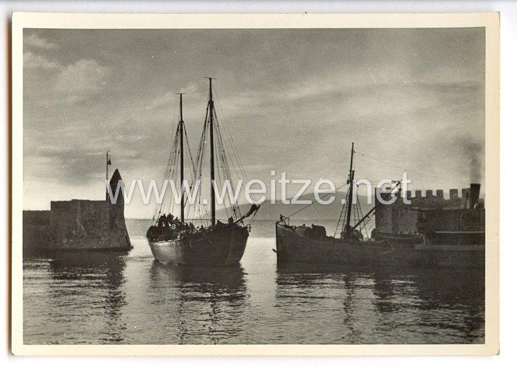 """Waffen-SS - Propaganda-Postkarte - """" Unsere Waffen-SS """" - Der Sprung über den Golf von Patras"""